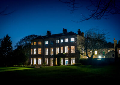 hooton pagnell hall, night time, yorkshire, boutique accommodation, doncaster, luxury, stately home